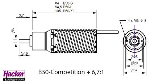 Elektromotor Hacker B50-9XL Competition + 6,7:4