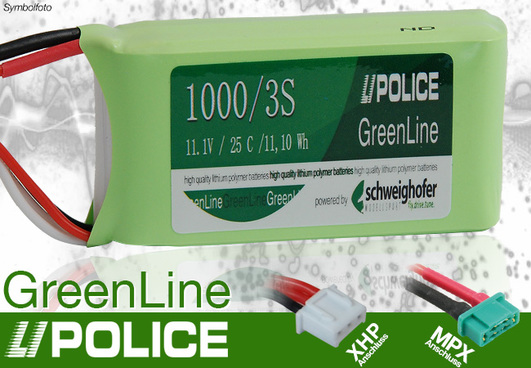 LiPo Pack 1000 mAh 3S (11,1V) 25C LiPolice GreenLine Light Edition (MPX + XH)