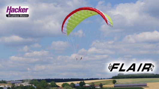 "Para-RC Gleitschirm ""RC-Flair"" Rot/Weiss/Lime"