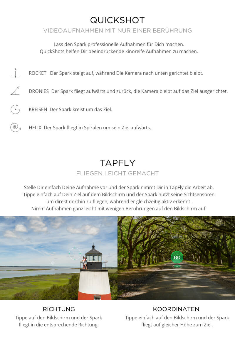 QuickShot, Tapfly, ActiveTrack, Gesten